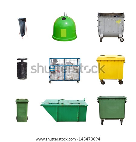 collection of different types of trash containers - stock photo