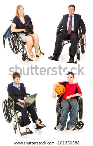 Collection of disabled people in wheelchairs, man, woman, teen boy, and teenage girl.  All full body isolated on white. - stock photo