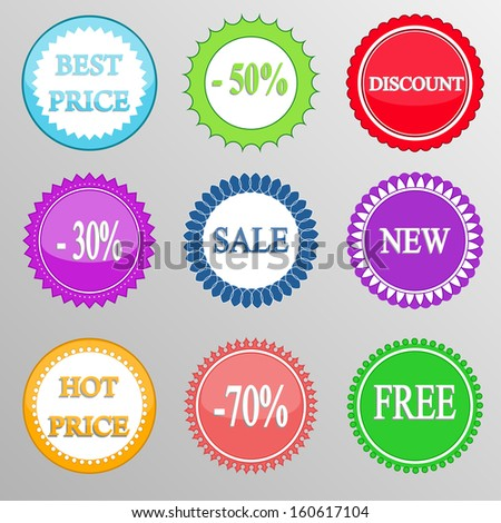Collection of discount labels