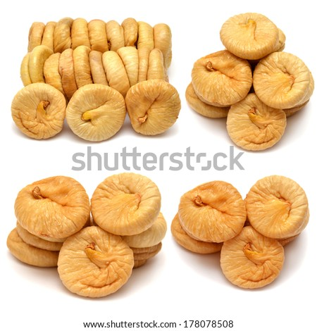 Collection of dried figs isolated on white background - stock photo