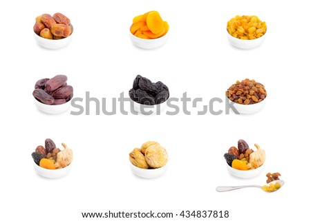 Collection of dried fruits for iftar in Ramadan isolated on the white background - stock photo