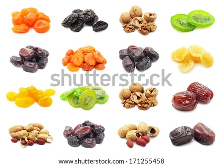 Collection of dried fruits isolated on white background - stock photo