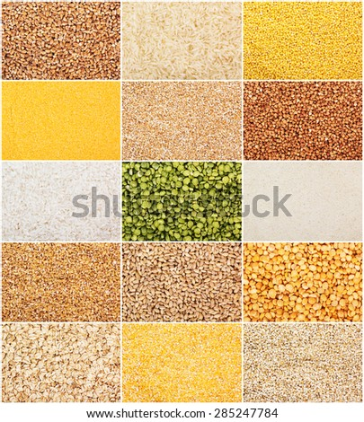 Collection of dry cereals - stock photo