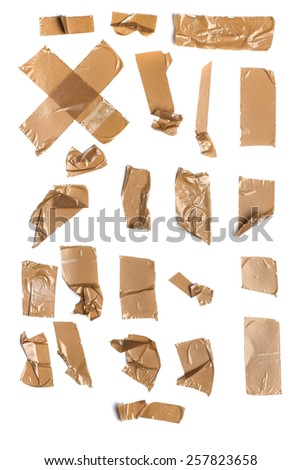 Collection of duct tape shapes on white background. - stock photo