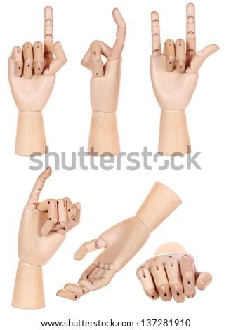Collection of dummy wooden human hand gesture isolated on white background - stock photo