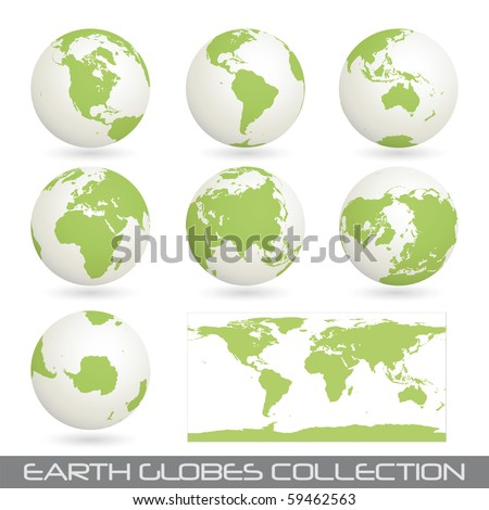 collection of earth globes end a map isolated on white, clip art illustration