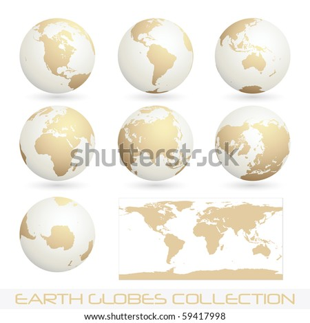 collection of earth globes isolated on white, clip art illustration