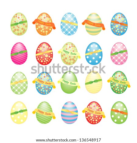 Collection of Easter eggs plaid striped dotted as easter elements decorated with flowers and festive ribbon happy easter