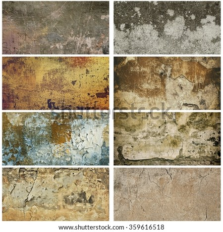 Collection of eight images with vintage grunge texture of old weathered dirty wall - stock photo