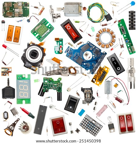 Collection of electronic components isolated in white - stock photo