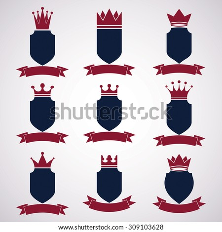 Collection of empire design elements. Heraldic royal coronet illustration, imperial striped decorative coat of arms. Set of luxury shields with king red crown and undulate festive ribbon. - stock photo