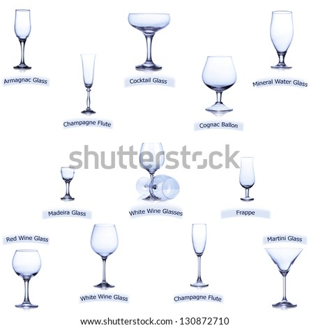 collection of empty glasses with designation isolated on white background - stock photo
