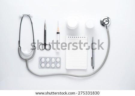 Collection of equipment medicine on the doctor's desktop. Medical concept. - stock photo