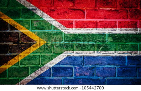 Collection of european flag on old brick wall texture background, south africa - stock photo