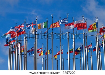 Collection of European flags - stock photo