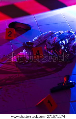 Collection of evidences on a crime scene - stock photo