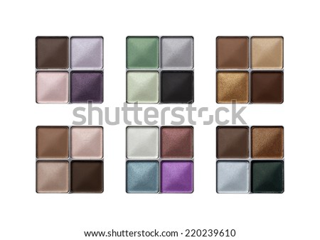 Collection of eyeshadow isolated on white  - stock photo