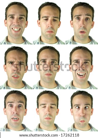 Collection of facial expressions, isolated on a white background