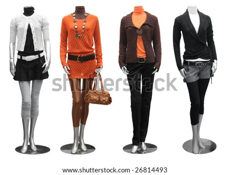 collection of fashion dress on mannequin isolated - stock photo