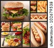 collection of fast food image - stock photo