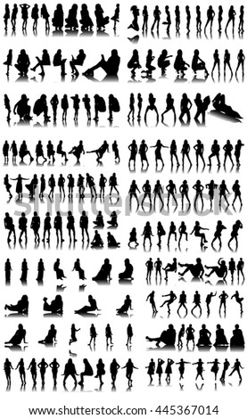 Collection of Female Silhouettes on White Background