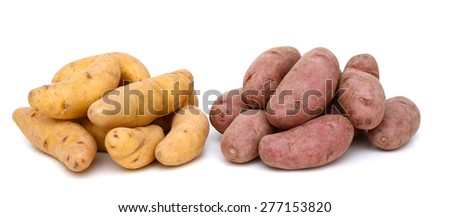 collection of fingerling potatoes isolated on white  - stock photo