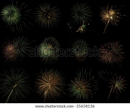 Collection of fireworks exploding in a night sky.