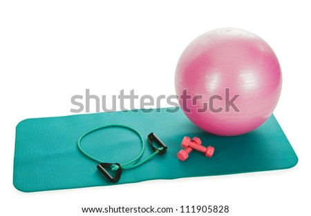 collection of fitness equipment over white - stock photo