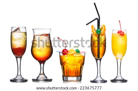 Collection of five alcoholic cocktails in warm colors decorated with cherries