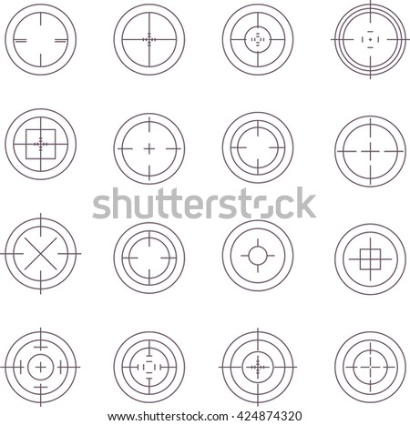 Collection of flat game targets isolated. Crosshair icon. Aim icon. Bullseye sign. Shooting mark set. Target icon.Computer game element, military concept.
