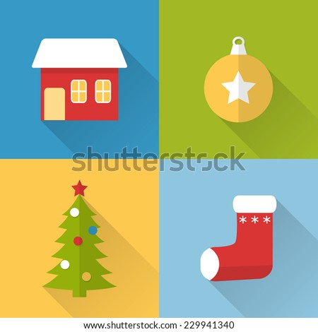 Collection of flat style Christmas icons with long shadow - stock photo