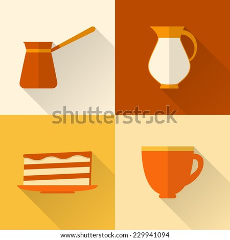 Collection of flat style coffee icons with long shadow - stock photo