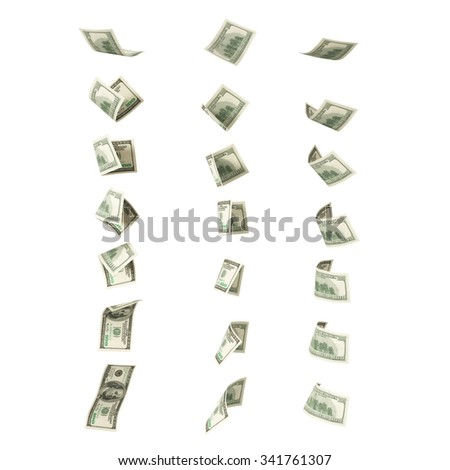 Collection of flying hundred dollars banknotes
