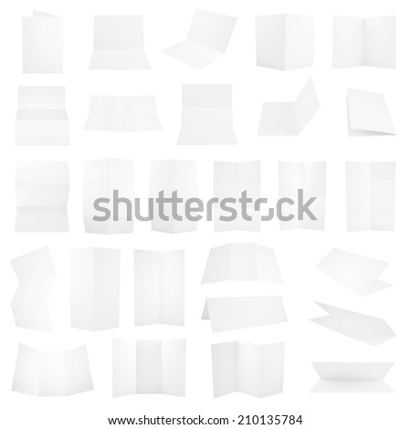 Collection of folded A4 paper clean copyspace sheets isolated over white background, set of 27 different foreshortenings - stock photo