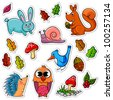 collection of forest animals and plants (vector available in my portfolio) - stock photo