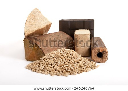 collection of fossil fuels on white background, isolated, firewood, coal, wooden briquettes and oven pellets,  - stock photo