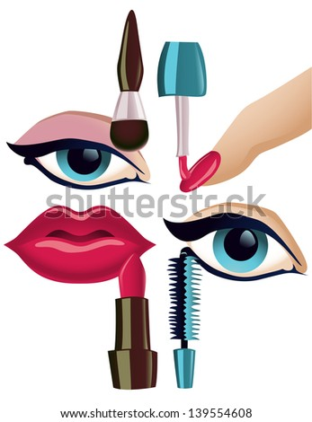 Collection of four basic makeup items - stock photo