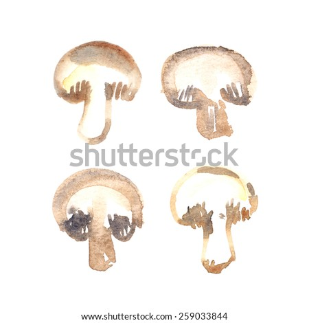 Collection of four cut mushrooms painted in watercolor on white isolated background - stock photo
