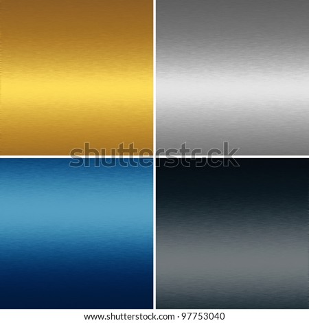 collection of four metal textures backgrounds - gold, blue, silver and black - stock photo