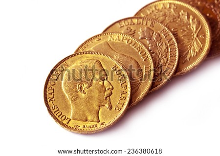 Collection of french antique gold coins (Napoleon), isolated on white background  - stock photo