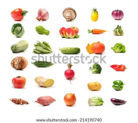collection of fresh and colorful vegetables on white background - stock photo