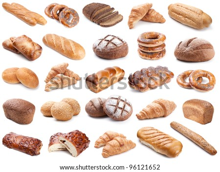 Collection of fresh bakery photos isolated on white - stock photo