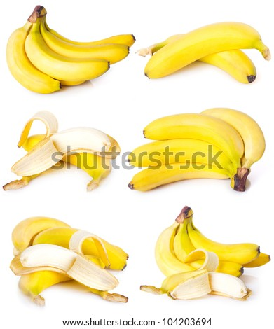 collection of fresh bananas isolated on white background - stock photo