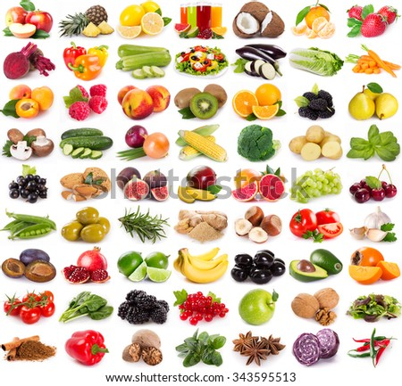 collection of fresh fruits and vegetables isolated on white background
