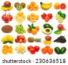 Collection of fresh fruits isolated on white background - stock photo