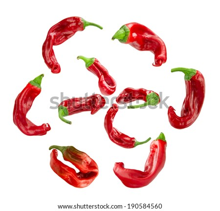 collection of fresh hot pepper on the white background