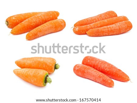 Collection of fresh orange carrots isolated on white background