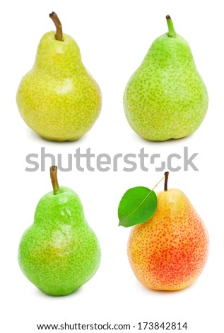 Collection of fresh pears isolated on white background - stock photo