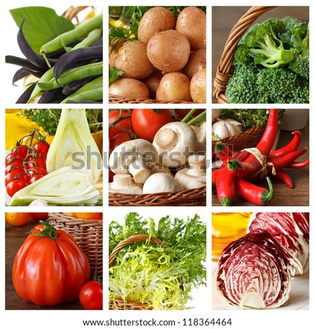 Collection of fresh ripe vegetables. - stock photo