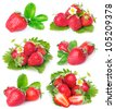 collection of fresh strawberry with leaves isolated on white background - stock photo